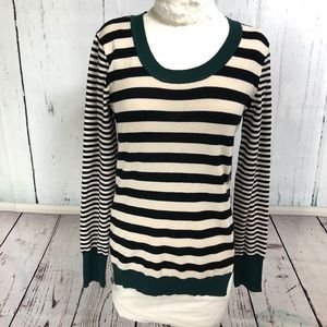 NWT Black, White & Teal Striped Sweater